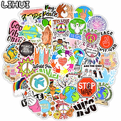 50 PCS Love and Peace Hippies Stickers Aesthetic Cute Sticker for Laptop Phone