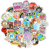 50 PCS Love and Peace Graffiti Wall Stickers Aesthetic Decals for Furniture Mir