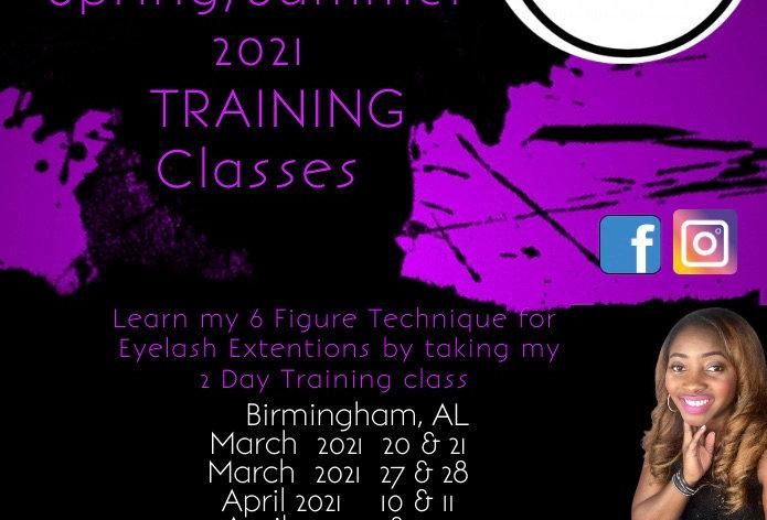 Spring & Summer Eyelash Extension Training classes Birmingham, Al March 27 & 28