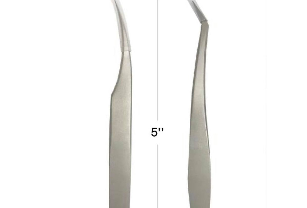 Stainless Steel Eyelash Extension Curved L&C Tweezers Set of 2