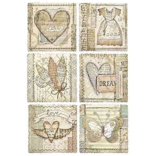 Stamperia A4 Decoupage Rice Paper -Heart Frames DFSA4443