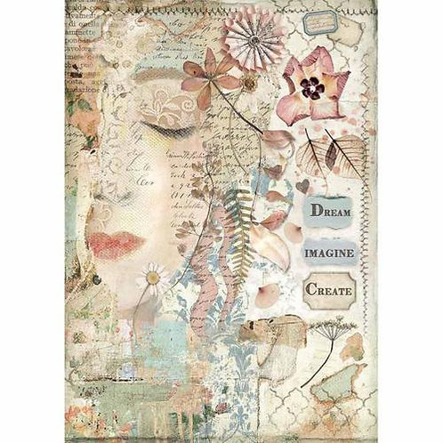 Stamperia A4 Rice Paper - Imagine - Front Face, DFSA4437