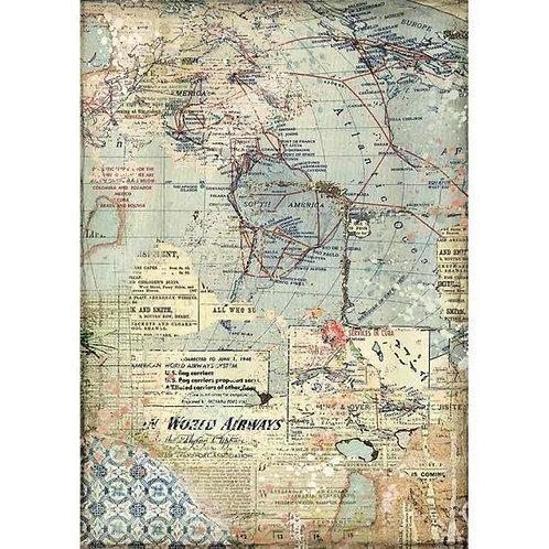 Stamperia A4 Rice Paper - Maps, DFSA4457