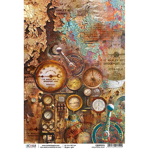 Ciao Bella Rice Paper Sheet A4 - Collateral Rust -CBRP074