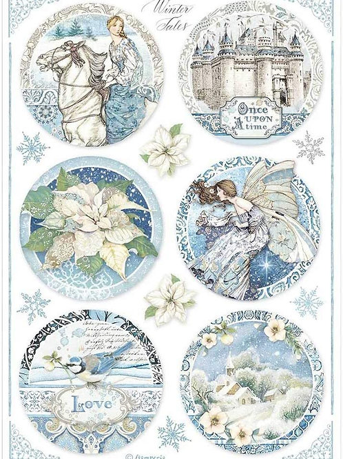 Stamperia A4 Decoupage Rice Paper - Winter Tales Castle Rounds, DFSA4496