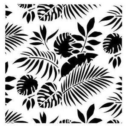 Posh Chalk Stencil - Tropical Leaves (19.5 X 19.5 inches)