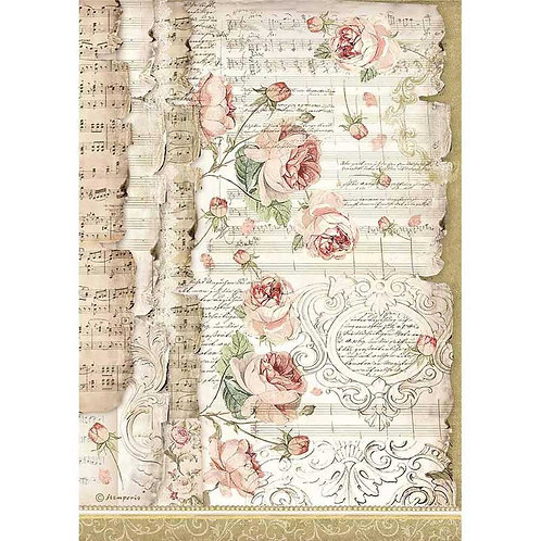 Stamperia A4 Decoupage Rice Paper -Roses & Music, DFSA4486