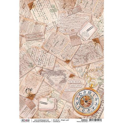 Ciao Bella A4 Rice Paper - Travel Memories, CBR004