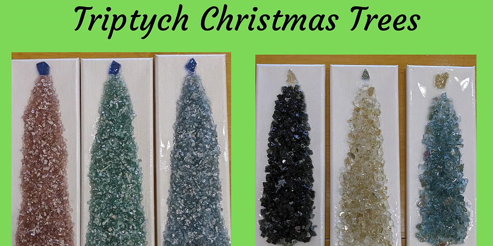 Glass Art - Shattered Creations - Triptych Christmas Trees