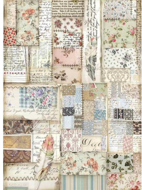 Stamperia A4 Decoupage Rice Paper -Patchwork Feather, DFSA4439