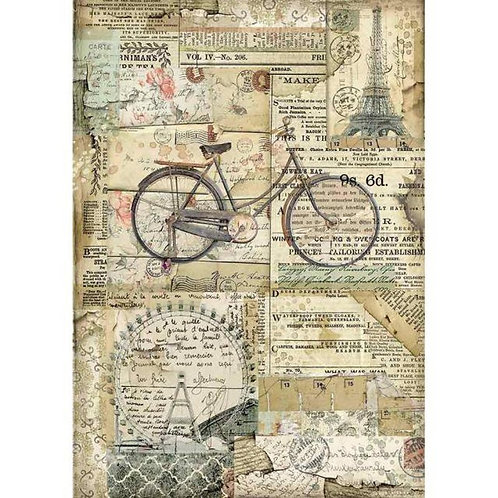 Stamperia Rice Paper A4 Bicycle DFSA4458