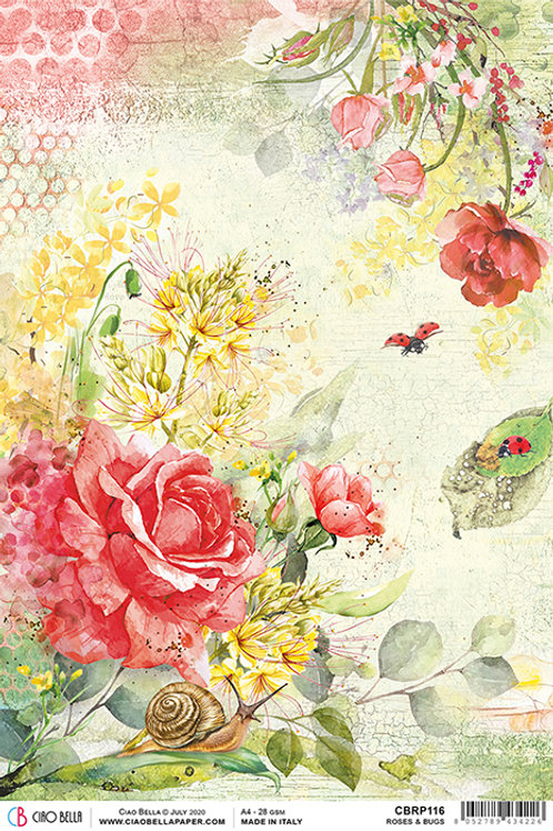 Ciao Bella A4 Rice Paper - Roses & Bugs, CBRP116