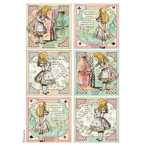 Stamperia A4 Decoupage Rice Paper -Alice Cards , DFSA4382