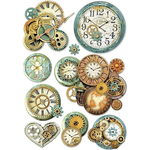 Stamperia A4 Decoupage Rice Paper - Gear Wheels & Clocks, DFSA4242