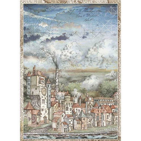 Stamperia A4 Decoupage Rice Paper - Sir Vagabond Cityscape, DFSA4514