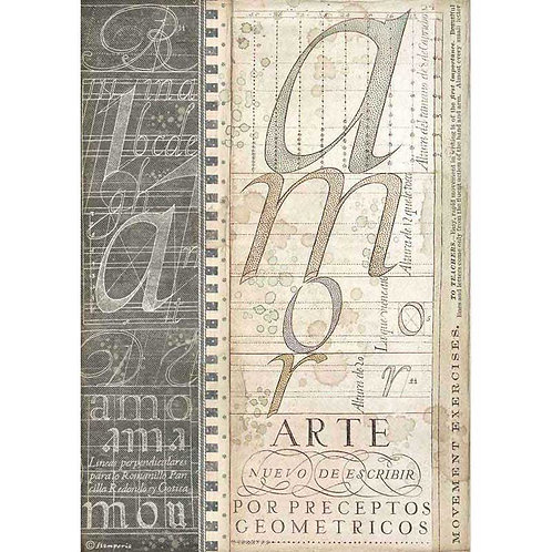 Stamperia A4 Decoupage Rice Paper - Calligraphy Alphabet, DFSA4525