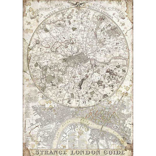 Stamperia A4 Decoupage Rice Paper - Strange London Guide, DFSA4522