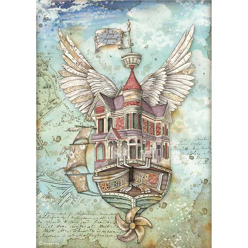 Stamperia A4 Decoupage Rice Paper - Lady Vagabond Flying Ship, DFSA4521