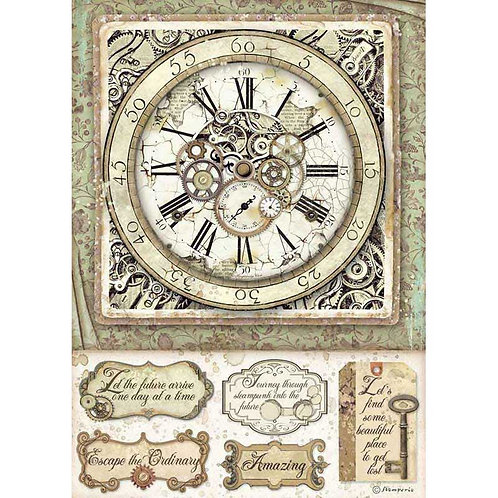 Stamperia A4 Decoupage Rice Paper - Lady Vagabond Clocks & Mechanisms, DFSA4519