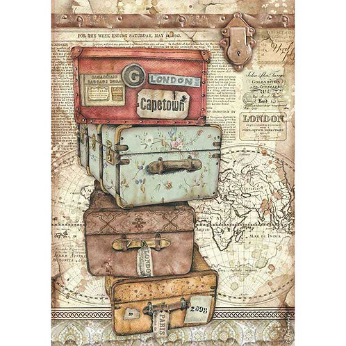 Stamperia A4 Decoupage Rice Paper - Lady Vagabond Luggage, DFSA4520