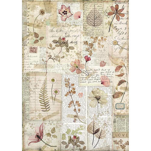 Stamperia A4 Decoupage Rice Paper -Pressed Flowers DFSA4440