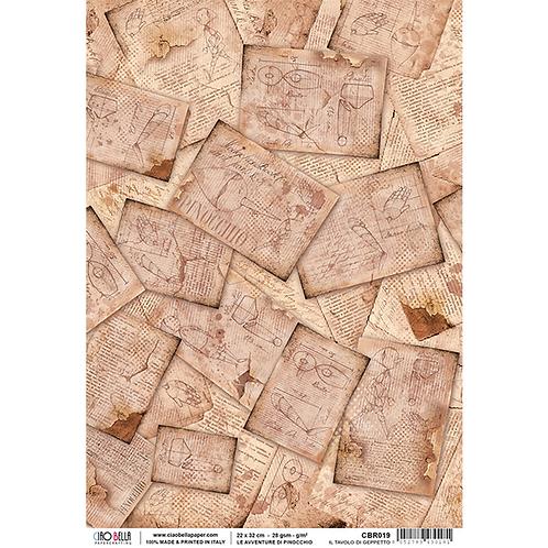 Ciao Bella - Rice Paper Sheet A4 - Pinocchio - Il Tavolo di Geppetto, CBR019
