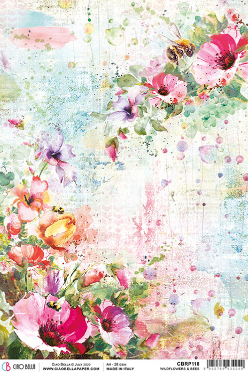 Ciao Bella Rice Paper A4 Wildflowers & Bees , CBRP118