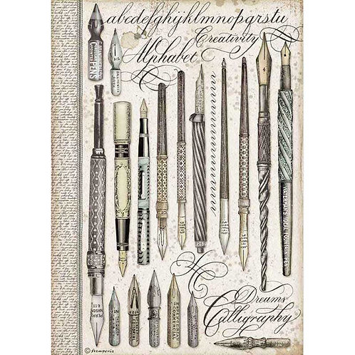 Stamperia A4 Decoupage Rice Paper - Calligraphy Vintage Pens, DFSA4526