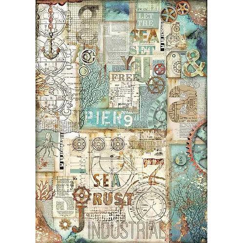 Stamperia A3 Rice Paper - Sea Rust, DFSA3053