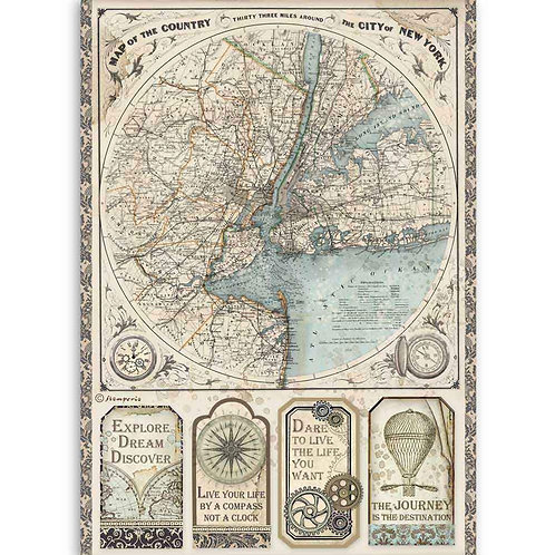 Stamperia A4 Decoupage Rice Paper - Sir Vagabond Map of New York, DFSA4515