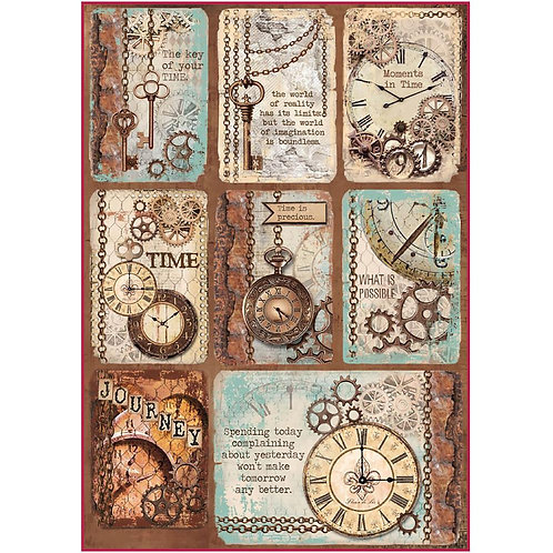 Stamperia A4 Decoupage Rice Paper -Clockwise Cards, DFSA4287