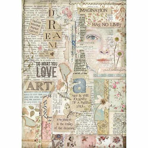 Stamperia A4 Rice Paper - Imagine - Love Art, DFSA4438