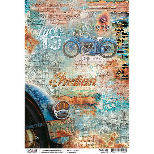 Ciao Bella Rice Paper Sheet A4 -Lucky 13 - Collateral Rust, CBRP072