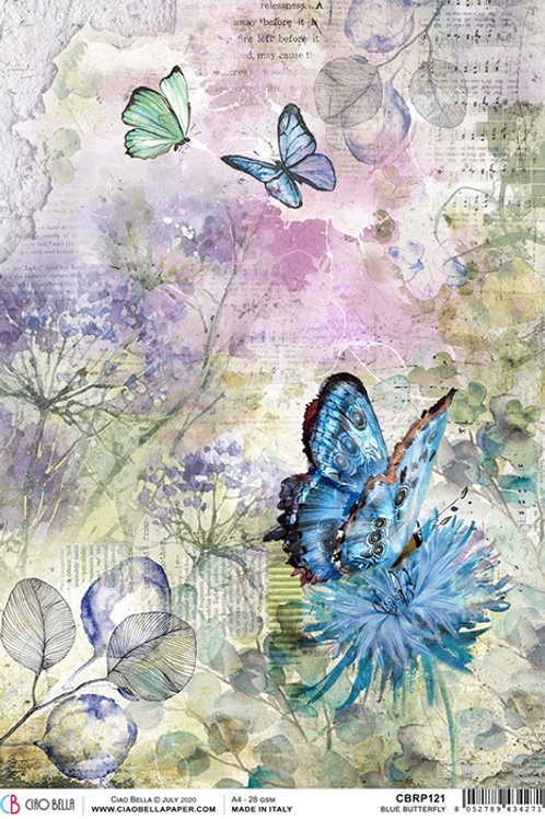 Ciao Bella Rice Paper A4 - Blue Butterfly, CBRP121