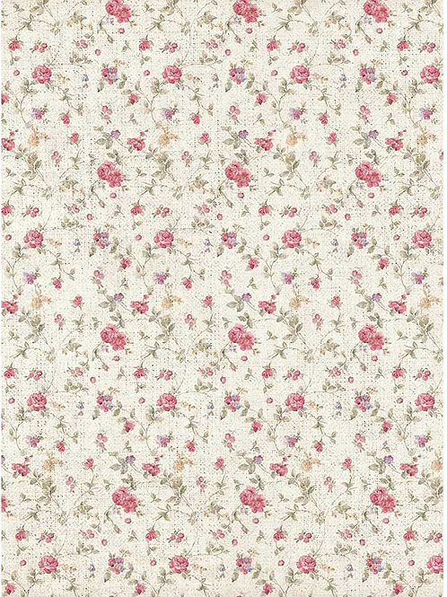 Stamperia A4 Decoupage Rice Paper - Texture Small Roses, DFSA4401