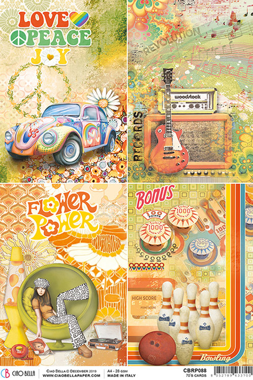 Ciao Bella A4 Rice Paper - 70's Cards  CBRP088