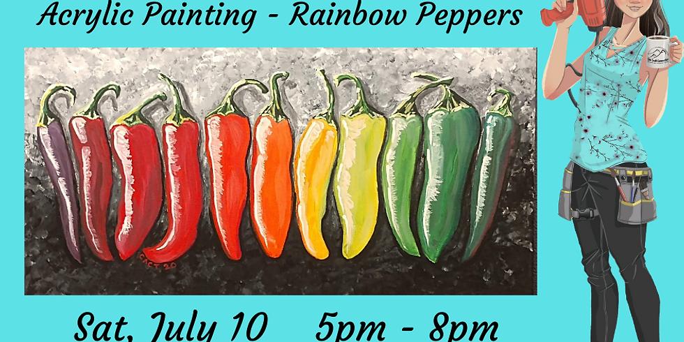 Acrylic on Canvas - Rainbow Peppers