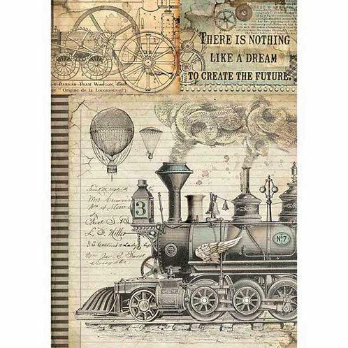 Stamperia A4 Rice Paper - Voyages Fantastiques - Train, DFSA4372
