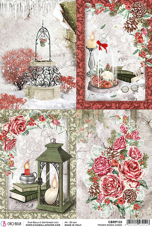 Ciao Bella Rice Paper A4 - Frozen Roses Cards, CBRP133