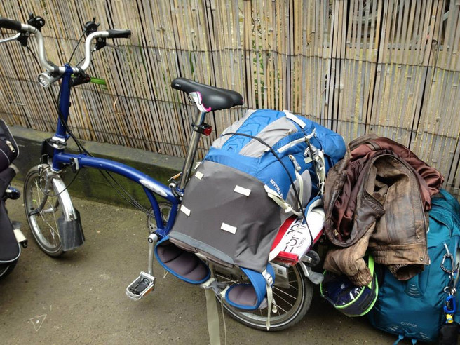 Customers Brompton set up for camping