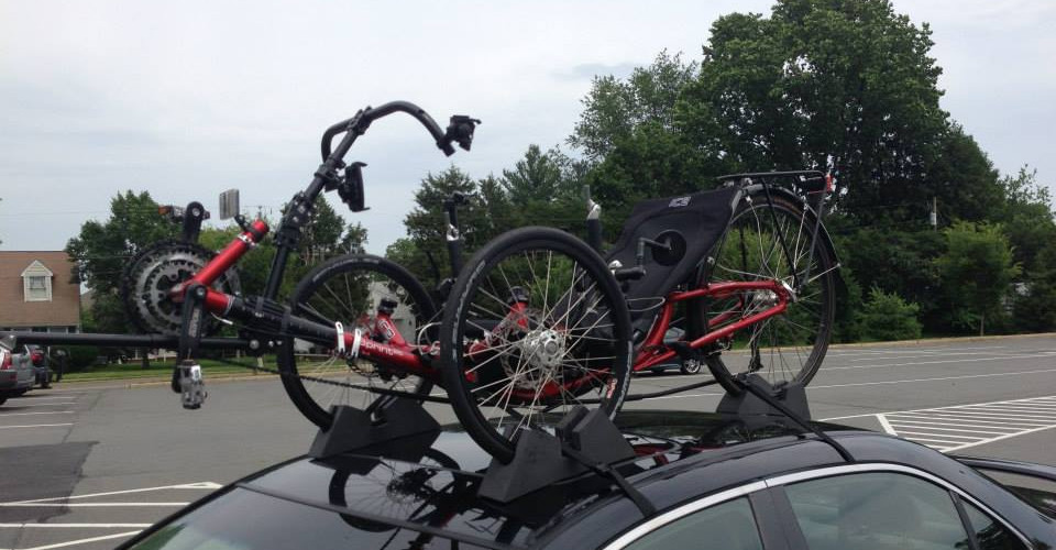 recumbent trike on roof rack
