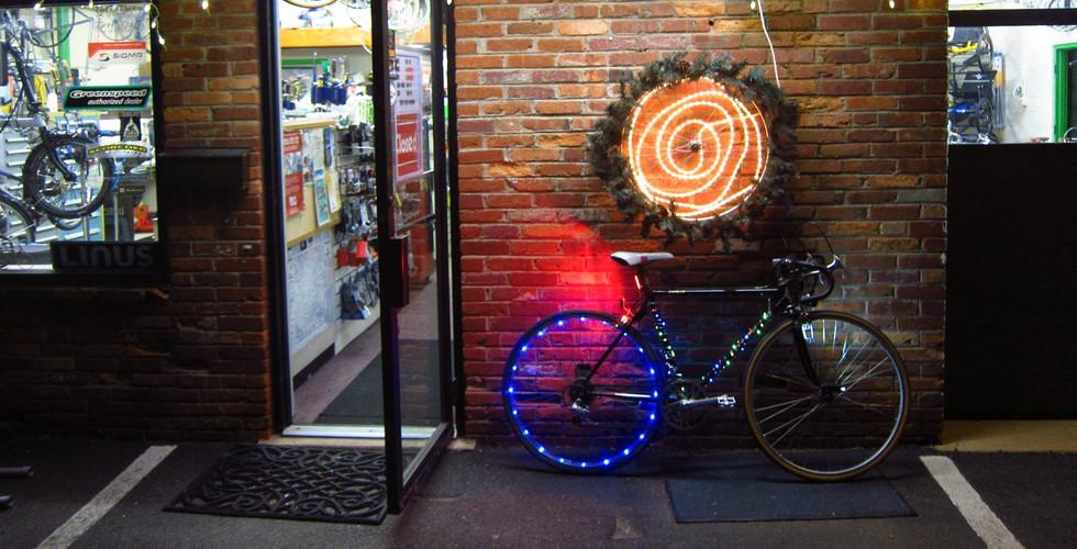 bike outside shop
