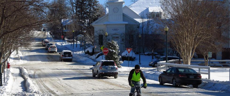 church street in snow