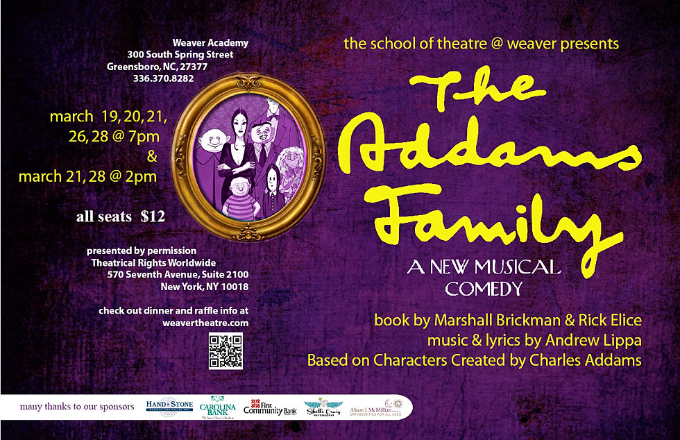 school of theatre @weaver | ADDAMS FAMILY the musical