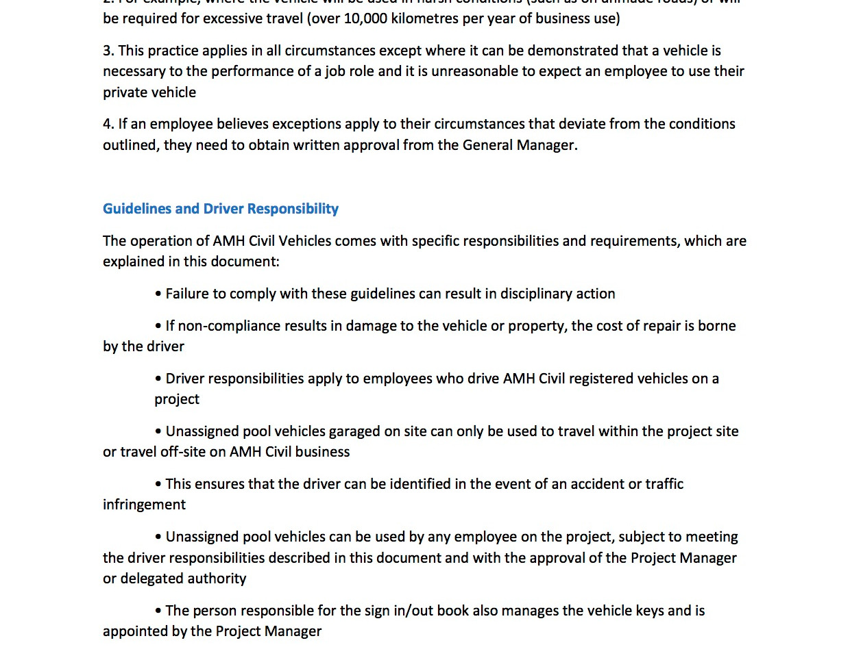 AMH-POL-HR-001 Guidelines For Vehicle Us