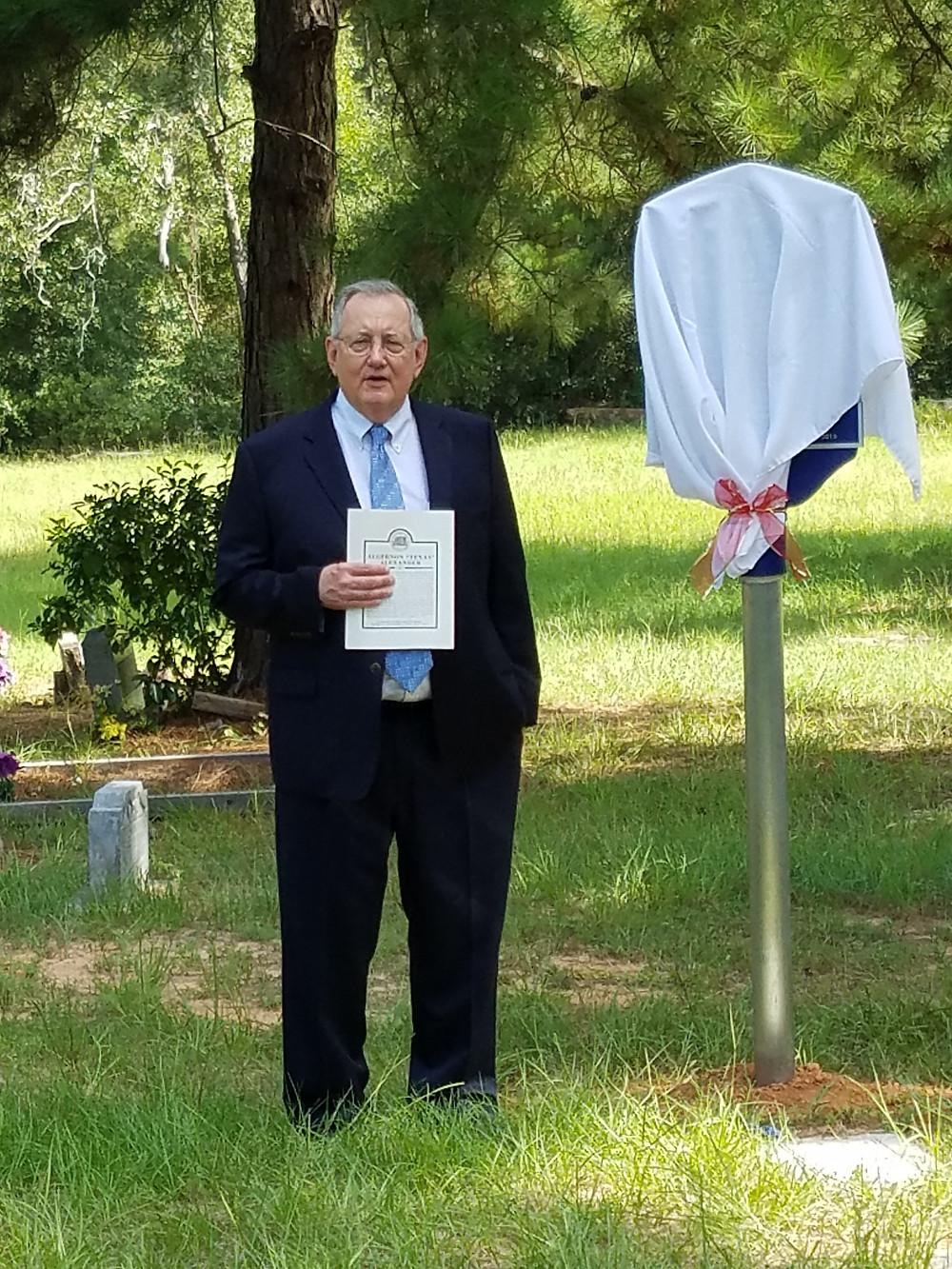 Larry Foerster at marker dedication ceremony