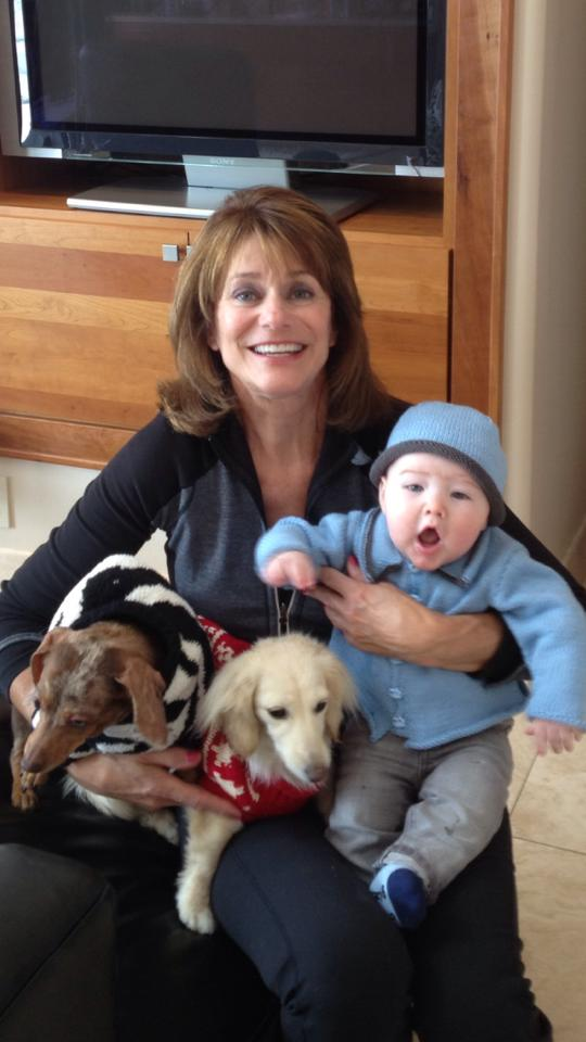 Susan, Hudson, and the puppies!