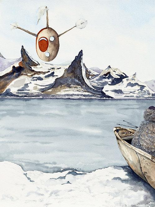 """The Last Hunter With Inuit Spirit Mask"" by Pamela Meacher"