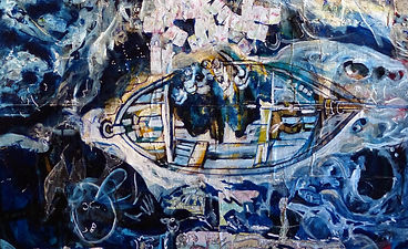 Fisher of men (Detail of  Golgota's Dreams. The never Told Story. 2015 . 147 x 103 cm. mixed media on wood artwork)