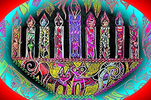 """Whimsical Menorah"" by Ronnie Frances Greenspan"